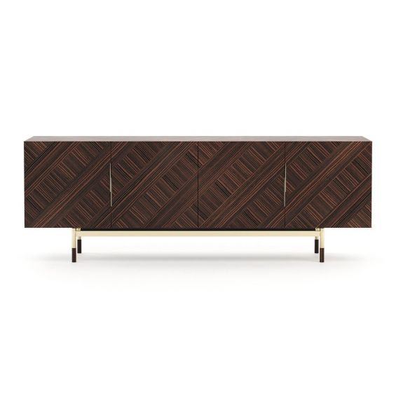 A stylishly mid-century inspired sideboard with gold-painted accents