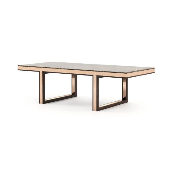 An exquisite luxurious copper and marble dining table
