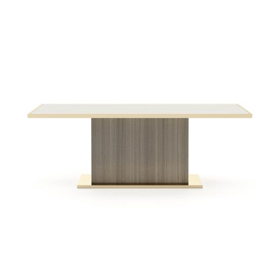 A chic and luxurious dining table made from matte grey eucalyptus with a golden rim and base