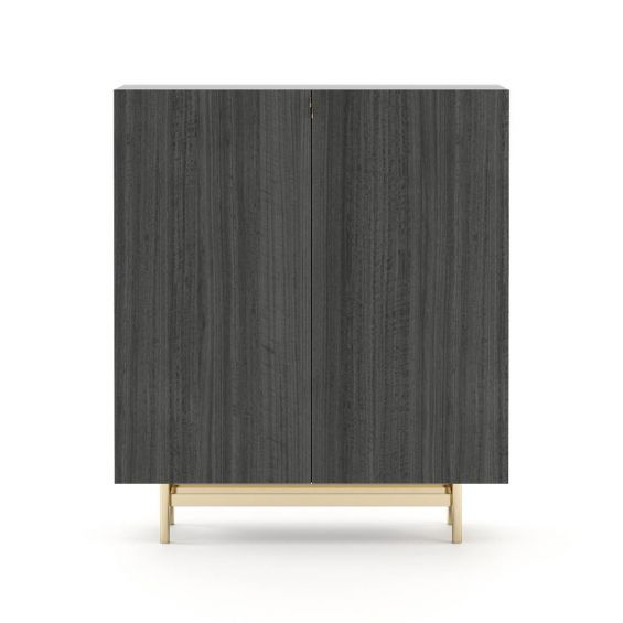 A fabulous minimal bar cabinet with a stainless steel base
