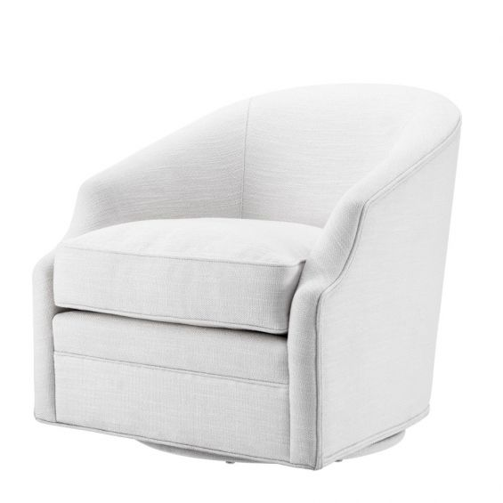 White, retro swivel chair with a curved back seat and thick seat cushion