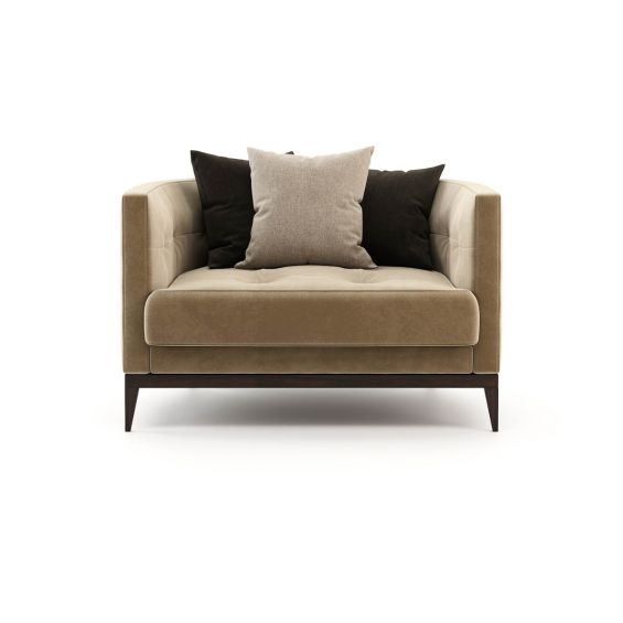 A luxurious and cosy armchair with velvet upholstery and blind tufted details