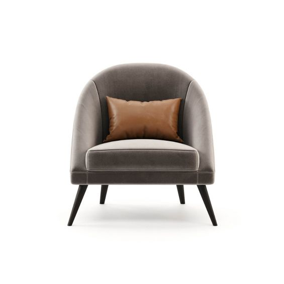 A stylish 70s inspired armchair with velvet upholstery and angled legs. Pictured in Vienna Mouse.