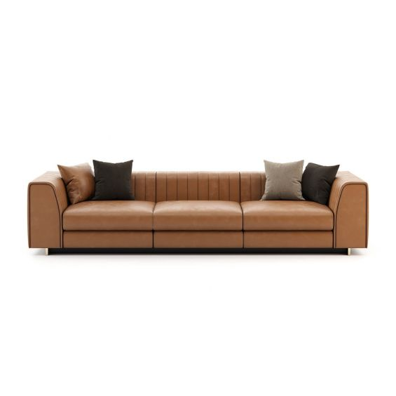 Leather 3 seater sofa with wide arms and golden detailing. Pictured in Seoul Camel.