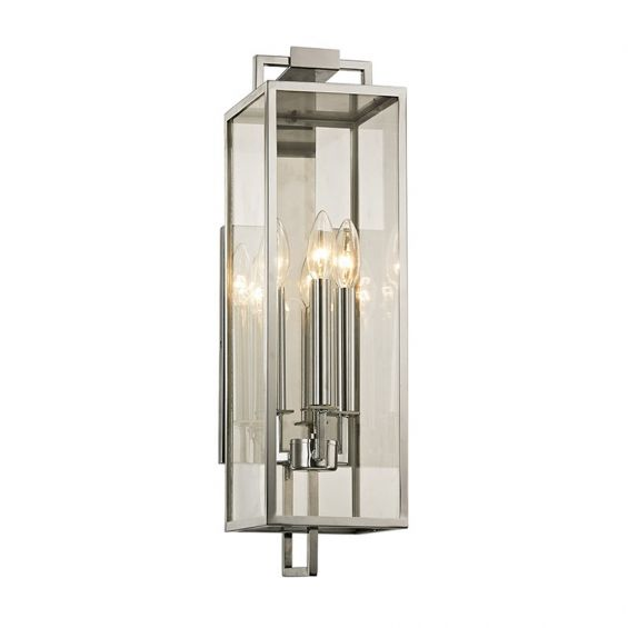 Classic contemporary polished stainless steel lantern