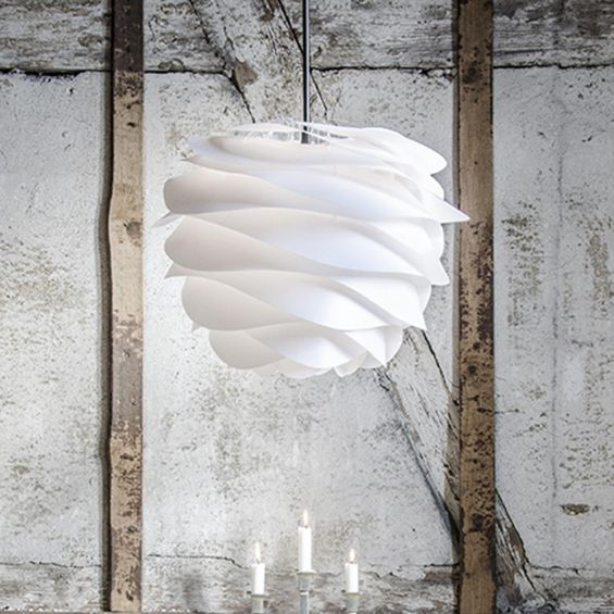 Contemporary, curved wave white lamp shade