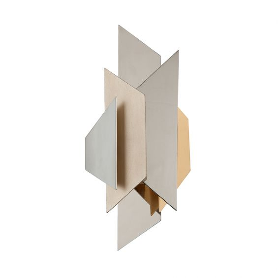 A striking gold and silver mirrored wall sconce by Hudson Valley