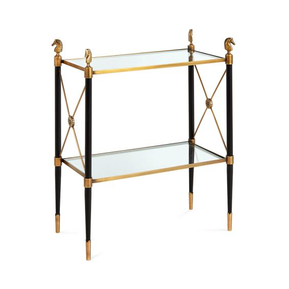 A regal brass and black French Empire-inspired side table with glass shlelves