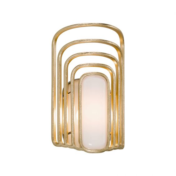 A curvaceous gold leaf wall sconce with an opal white glass pearl shade by Hudson Valley