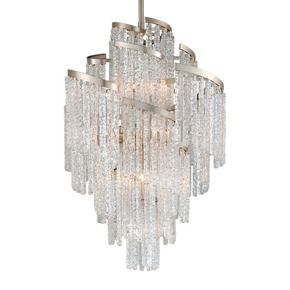 A silver leaf icicle effect crystal chandelier by Hudson Valley