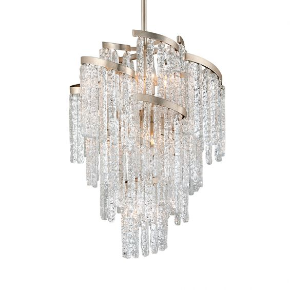A unique and elegant chandelier by Hudson Valley with crystal glass icicles and a silver leaf finish
