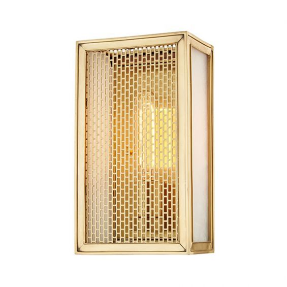 A box-style aged brass contemporary wall lamp
