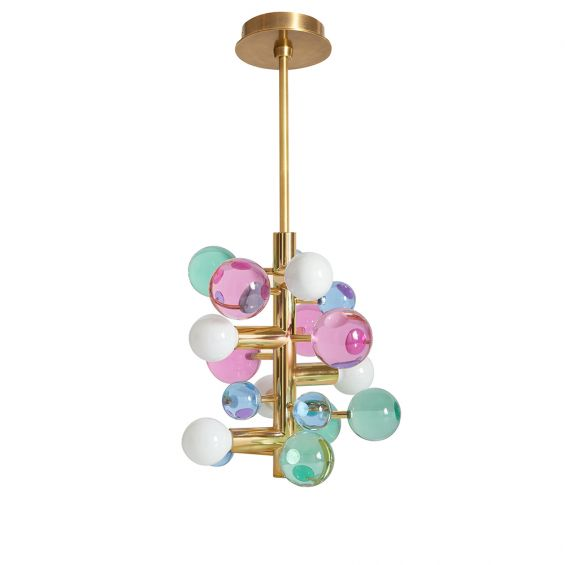 A glamorous 5-light chandelier with jewel-toned globe ornaments