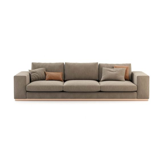 Upholstered velvet, 3 seater sofa with modern wide arm design. Pictured in Vienna Mouse.