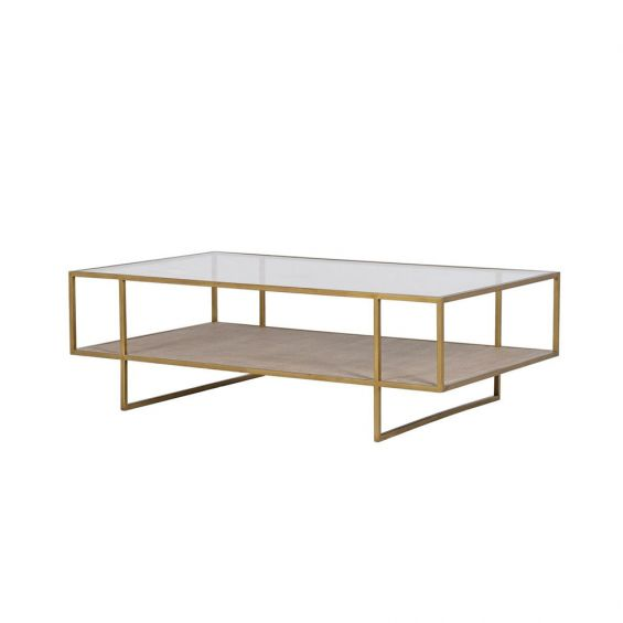 A stunning antique brass table with a glass surface and woven lower shelf
