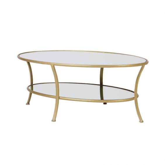 Glamorous iron frame oval coffee table with a golden finish and clear glass tabletop