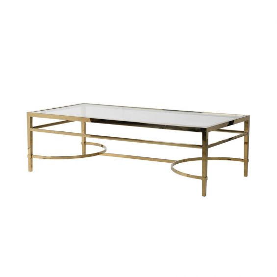 Gold finish stainless steel rectangular coffee table with a clear tempered glass surface