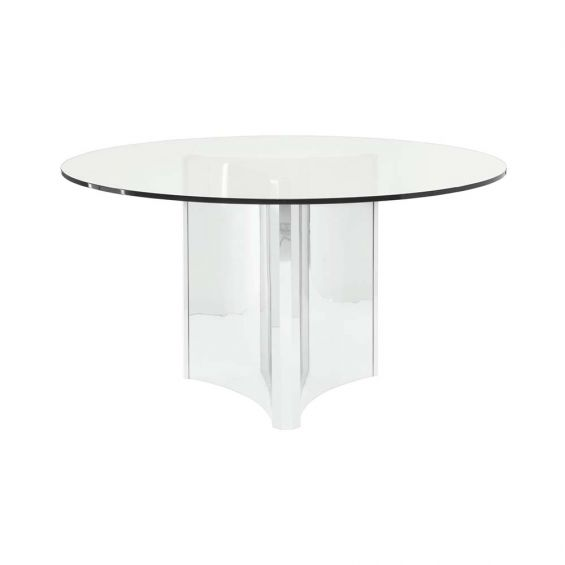 round, clear and nickel dining table