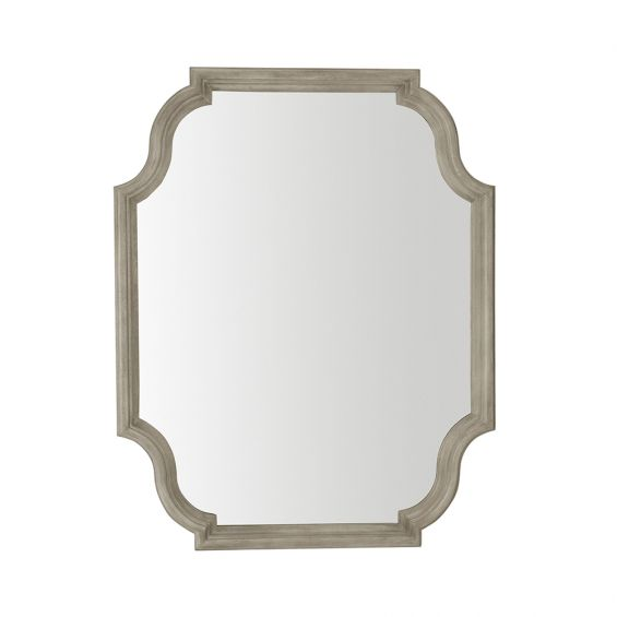 A classic and traditional wall mirror with curved edges, a solid white oak frame and grey finish