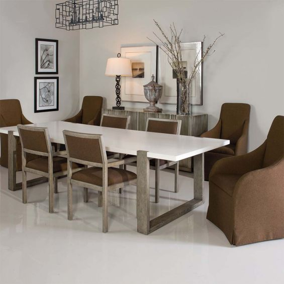 Scandinavian inspired dining table with white top and wooden legs