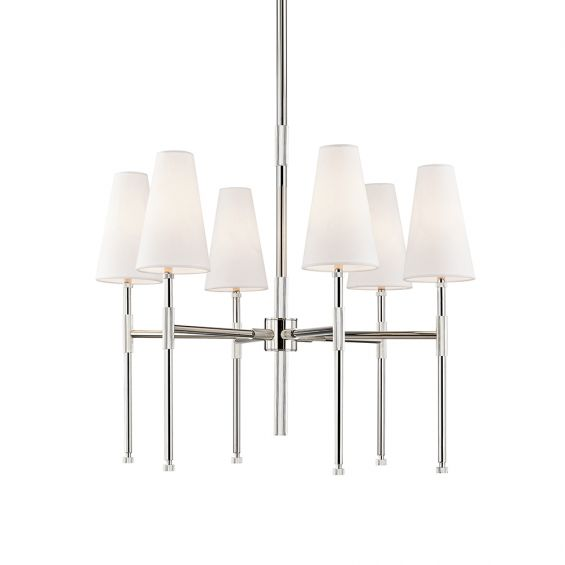 A polished nickel chandelier by Hudson Valley with six off-white linen shades