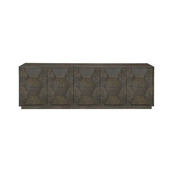 Entertainment unit with five doors in a dark charcoal finish.