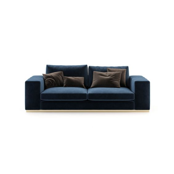 Blue velvet 2 seater sofa with wide arms and golden detailing. Pictured in Vienna Deep Blue.
