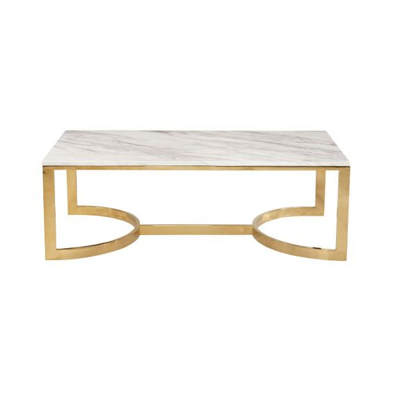 art deco inspired coffee table with white marble base