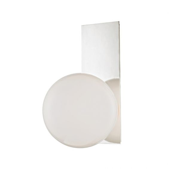 An elegant polished nickel wall lamp has a white glass lampshade