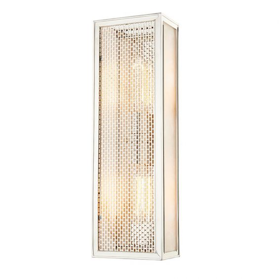 A tall contemporary polished nickel wall sconce