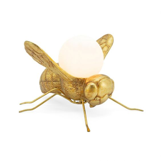 golden bee table lamp with satin white bulb