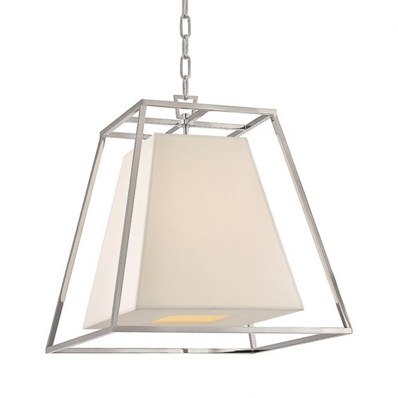 A beautiful industrial-inspired faux silk and polished nickel pendant