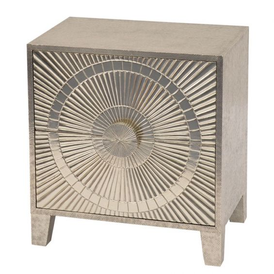 Satin silver circular patterned bedside table