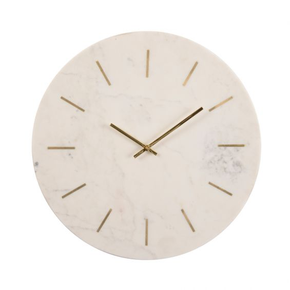 Brass inlay and white marble wall clock