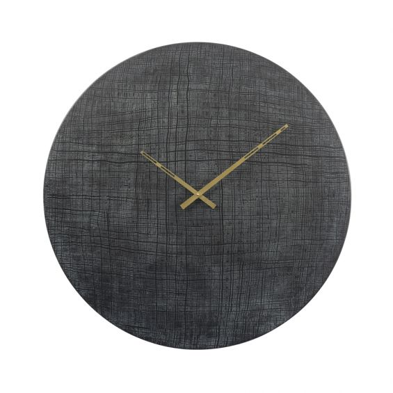 large black and green numberless wall clock with gold hands