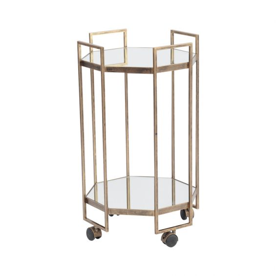 art-deco style drinks trolley with mirrored shelves