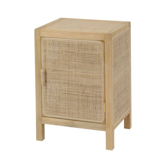a luxurious Scandinavian inspired cane and rattan side table