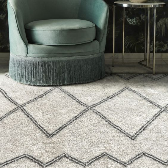 Scandinavian grey and ivory wool patterned rug