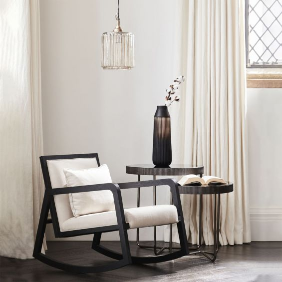 Sleek contemporary set of 2 side tables with black tinted glass
