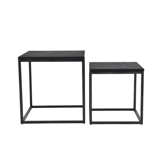 A luxurious set of two minimal brutalist-inspired side tables