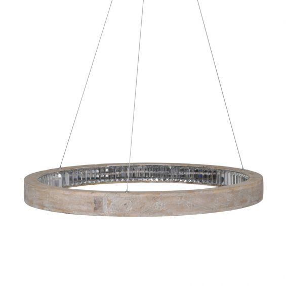 A contemporary oak wood chandelier with a crystal LED ring