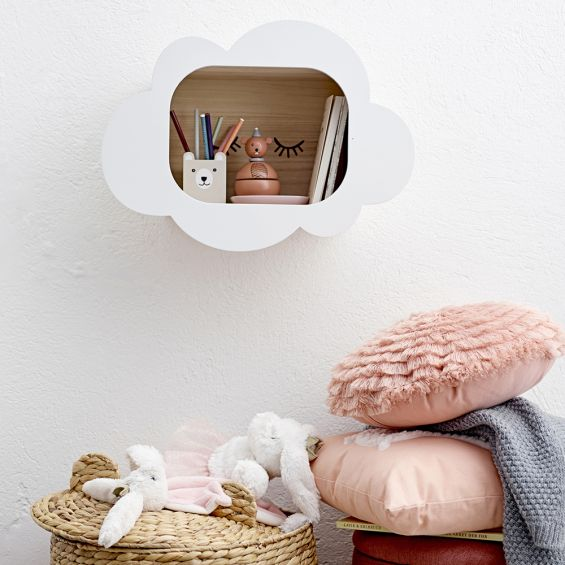 Adorable white wooden display box wall hanging with a cloud and eyelash design