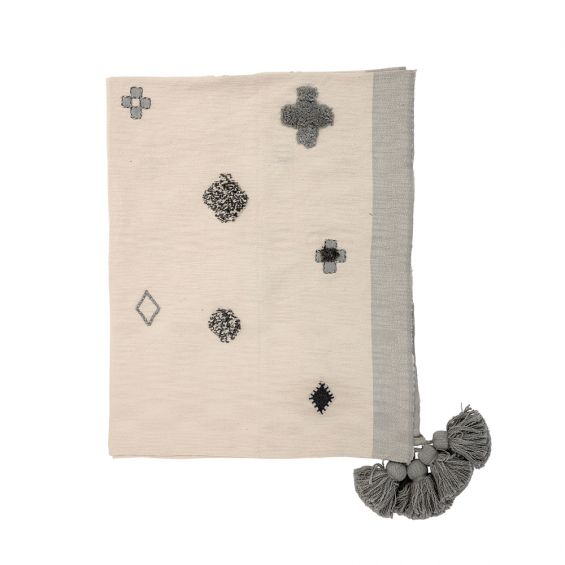 Luxurious grey and cream throw with grey tassels and woven finish