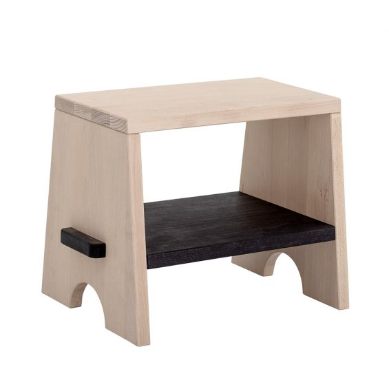 A small natural beechwood stool, footrest, step ladder for kids