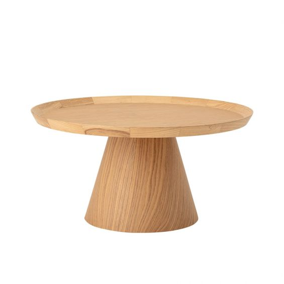 A classic natural oak round coffee table