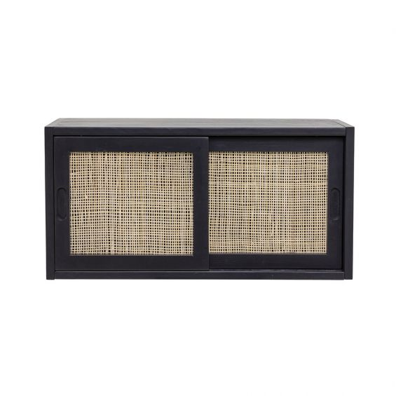 A luxurious black pine and rattan storage cabinet