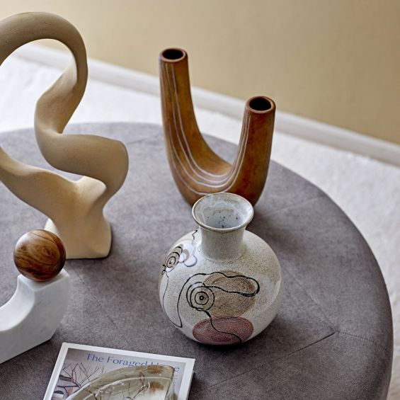 A luxurious double-ended U-Shaped terracotta vase