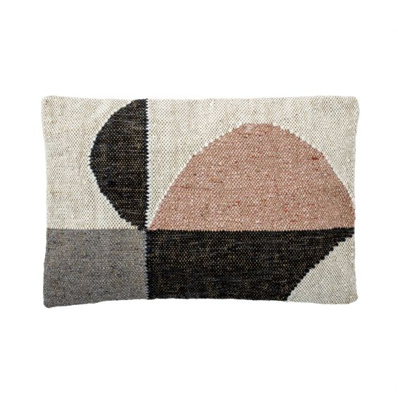 Luxurious rectangular cushion with natural finish and neutral tones