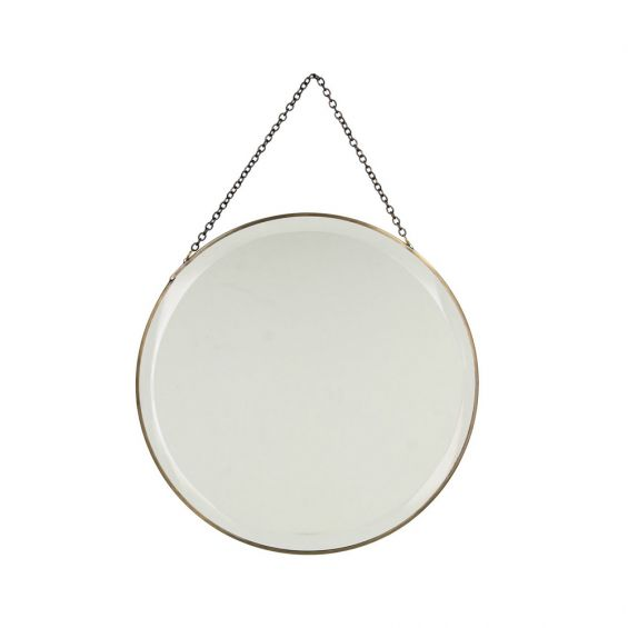 circle mirror with brass rim and chain