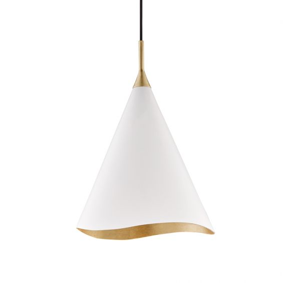 A elegantly curvaceous pendant by Hudson Valley with a white shade and a glamorous gold-leaf finish